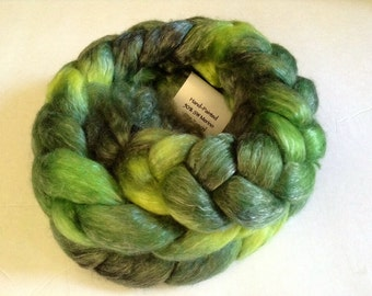 SW Merino Tencel braid Hand Painted in Mt Tam Moss by Royale Hare spinning yarn knitting crochet