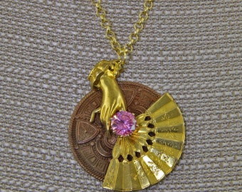 Handmade Prong Set 10 mm Pink CZ Fan and Shield Necklace Vintage Looking Victorian Style Oscarcrow