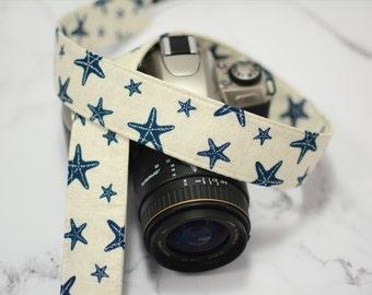 dSLR Camera Strap - Starfish in Navy on Cream - Women's Accessories - Gift for Photographers - Nautical Camera Strap - Anniversary Present