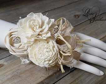 Will ship in 4 weeks ~~ Large Rustic Chic Burlap & Sola Flower Wrist Corsage, Bride, MOB, MOG, MOH, Bridesmaid