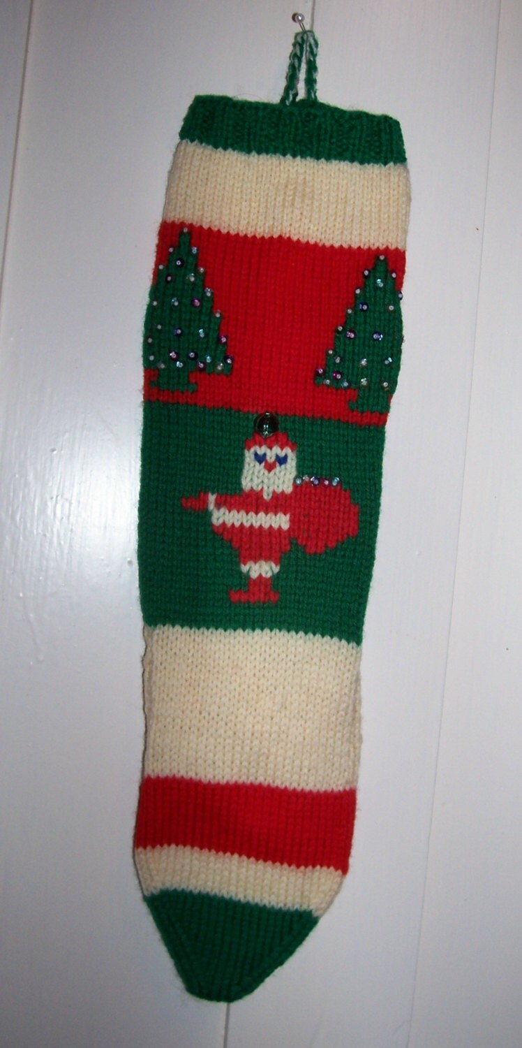 Hand Knit Christmas Stocking Patterns : Hand Knit Wool Christmas Stocking Old Pattern Santa Trees