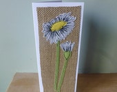 Applique  textile Daisy birthday or mother's day or thankyou  card