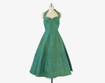 Vintage 50s Halter DRESS / 1950s Iridescent Green Raw SILK Full Skirt Sun Party Dress XS