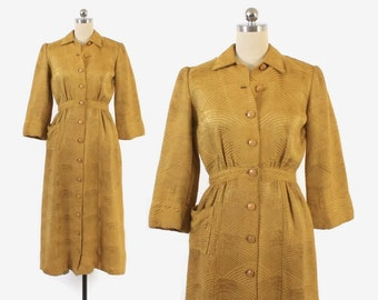 Vintage 40s DRESSING GOWN / 1940s Woven Gold Damask Robe Dress Xs - S