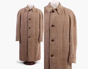 Vintage 50s OVERCOAT / 1950s Men's Beige Herringbone Wool British Winter Coat M - L