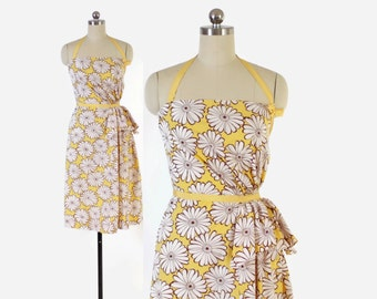 Vintage 40s DAY DRESS / 1940s Yellow & Brown Floral Cotton Sleeveless Halter Dress XS