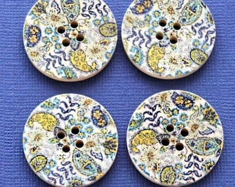 6 Large Wood Buttons Floral Abstract Design 30mm BUT049
