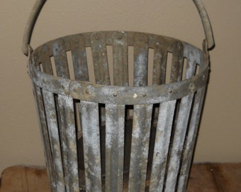 Vintage Bucket, Wood Block / Lift and Strainer