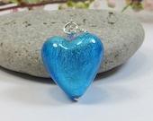 Kingfisher Blue Venetian Murano Glass Heart Pendant, Murano Venetian Heart Pendant Kingfisher Blue White Gold Inside w Swarovski & Sterling