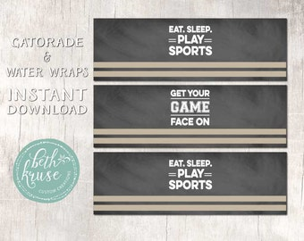 Sports Drink Wraps - Game Face - INSTANT DOWNLOAD by Beth Kruse Custom Creations
