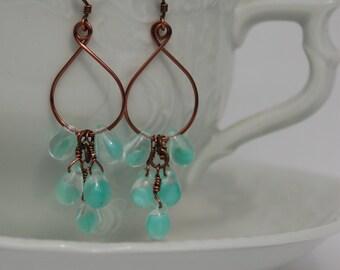Green Glass Teardrop Copper Earrings.................no. 558a