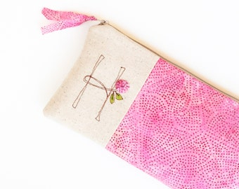 Pink Monogram Clutch, Gifts for Women, Gifts for Her, Zipper Pouch, Zipper Bag, Zipper Clutch, Letter H, Gifts under 50 READY TO SHIP