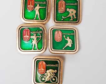 Set of 5 vintage pins  Russia USSR Moscow 1980 Summer Olympic Games Pin Badge.