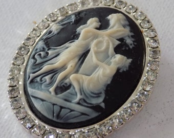 Vintage cameo brooch,molded resin cameo surrounded by crystals, unique cameo