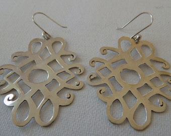 Unique sterling silver 925 dangle earrings, statement earrings, 2 inch dangles, jewelry