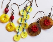 Yellow Vintage Button Earrings ~ Ladybug, Long Row, Amber Ship's Wheel