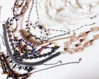Beadwork Necklace Wholesale Lot - 14 Black, White, Neutral plus Earrings, Bracelet