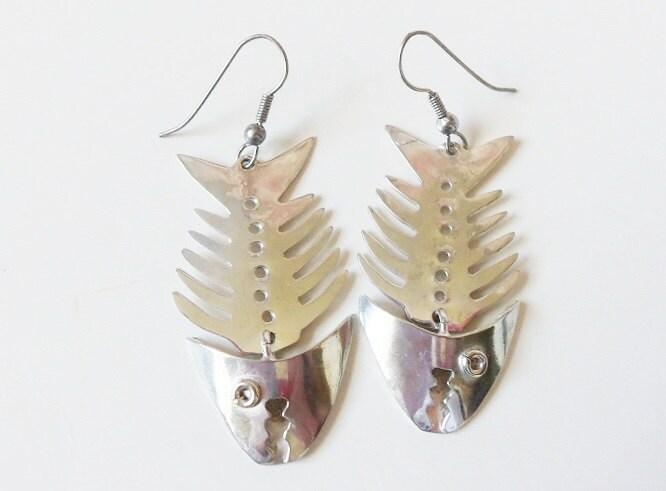 Sterling silver fish bone skeleton earrings vintage alpaca for Fish bone earrings