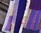 Purple Patchwork Quilt made from Repurposed Felted Wool Sweaters, Soft Crazy Quilt, Warm Throw Blanket
