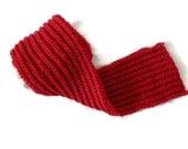Hand knit Red Scarf, Knit Scarf, Winter Wool Scarf, Wrap Scarf