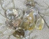 Special offer Wholesale 11 pcs hairstone golden Transparent Quartz,Gold Rutilated Quartz,lodolite quartz,semi-precious stone pendant