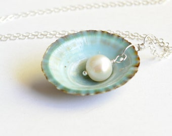 Teal Shell Necklace With Freshwater Pearl