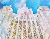 "San Diego LDS Temple, print of original watercolor, 8""x8"""