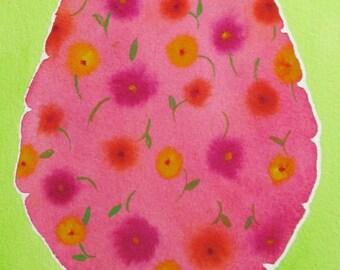 Flower-Filled Brain  -  original watercolor painting of brain