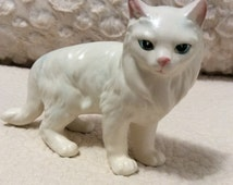 AUTUMN SALE Vintage Lefton Blue Eyed White Kitten Figurine Persian Cat made in Japan in 1960s