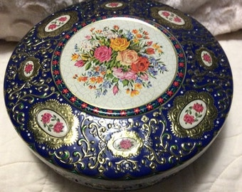 AUTUMN SALE Vintage Rare Blue Floral Tin Container made in Holland Red Rose Embossing