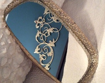 "FALL SALE Vintage Large 13.75"" Gold Plated 24KT Filigree Dresser Mirror Vanity Tray Ormolu"