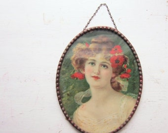 ON SALE Antique Wall Hanging - Victorian Woman with Poppies in Hair -  Wall Art - Oval with Metal Frame