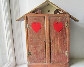 Vintage Folk Wall Cabinet - Spice Cabinet - Medicine Cabinet - Vintage Handmade