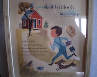 Vintage Mid Century Framed Print - Children's Rhyme Illustration Poster - A 10 O'clock Scholar