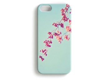 """phone Case """"Ikebana for Beginners"""" Spring Blossom Berry red Turquoise mint"""