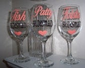 Personalized STEMMED Wine Glasses, Bridesmaid Wine Glass, Bride-to-be, Bridal Party Wine Glasses GIFT WRAPPED