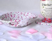 Cute Desk Accessory Set, Pink Pen Basket, Handmade Pink Coaster and Basket Set, Mug Rug and Candy Dish, Candy Bowl