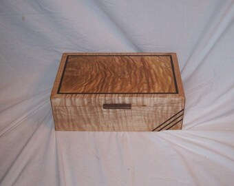 """Box Keepsake or Trinket Art Deco Fiddle Back Maple Box With A  Ash top 11""""x7""""x4"""" Handcrafted"""