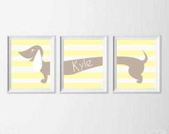 Personalized Nursery Art Dog Doxie , Nursery Yellow Tan , Wall Name Dog Puppy Dachshund , Weiner Dog Artwork Wall , Dachshund Wall Art