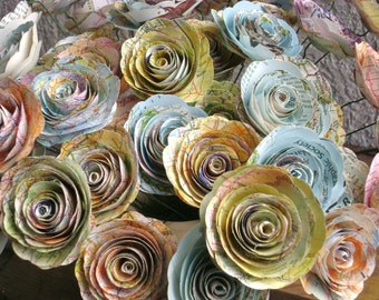 """25 spiral 2"""" paper map roses flowers on stems made from vintage atlas recycled book pages wedding decorations ready to ship"""