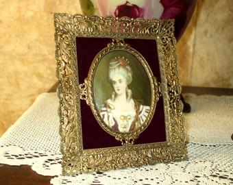 Vintage Filigree Frame With Portrait Print Victorian Style Ornate Antique Brass Gold Metal