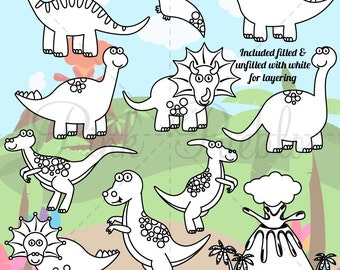 Dinosaur Clipart, Dinosaur Clip Art, Dinosaur Digital Stamps, Great for Dinosaur Invitations or Dinosaur Party - Commercial and Personal