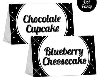Black and White Polka Dot Tent Card, Black and White Party, Polka Dot Party, I Will Input the Content, Printable Tent Card, Print Your Own