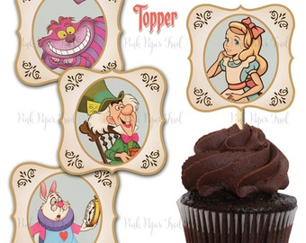 Alice in Wonderland Cupcake Topper, Tag, Favor Tag, Instant Download, Print Your Own
