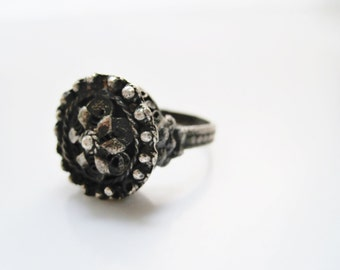 Balkan Ring, Dome Ring, Silver Ring, Antique Ring, Silver Filigree, Rattle Ring, Bulgarian Ring, Balkan Jewelrly, Ethnic Jewelry