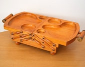 RESERVED FOR EY Vintage Expandable Wood Condiment Buffet Tray