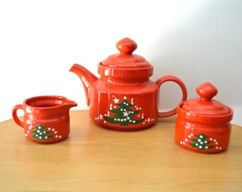 Vintage Waechtersbach Christmas Coffeepot, Cream and Sugar Set. West Germany