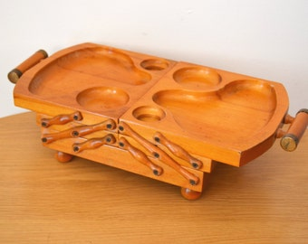 Vintage Expandable Wood Condiment Buffet Tray