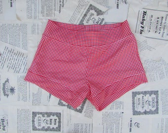 red and white vintage deadstock swim bottom high waisted
