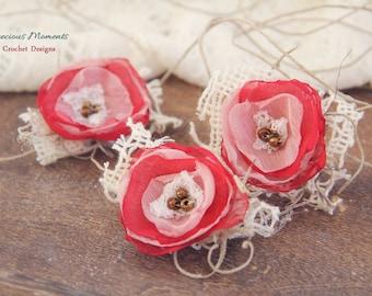 Newborn Valentines Tieback, Girl Valentines Photo Prop, Newborn Tie Back Headband, Vintage Headband, Newborn Headband, Baby Halo, Red Pink